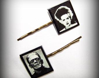 Handmade Halloween Polymer Clay Frankenstein and Bride Antique Bronze Bobby Pins Set