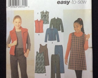 Simplicity Girl's Jacket Or Vest, Pants And Jumper Pattern 4839 Size 7, 8, 10, 12, 14, 16 Easy To Sew