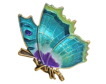 Butterfly 1 inch ( 25 mm ) Susan Clarke Teal Magenta Lime Metal Button