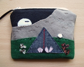 SOLD, but see description. Hikers Camping, Embroidered, Hand Sewn, Fabric Rich Padded Felt Mobile Case and/or Purse