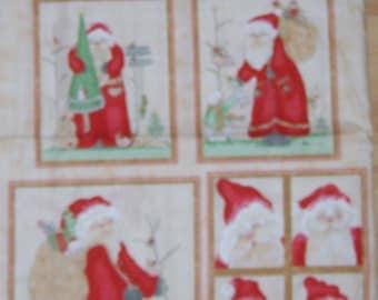 A Wonderful Here Comes Santa Christmas Holiday Fabric Panel Free US Shipping