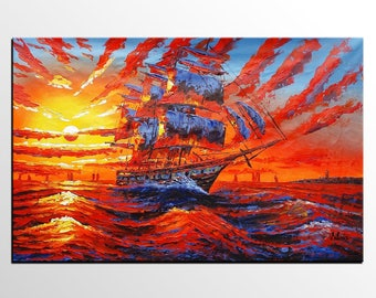 Oil Painting, Abstract Art, Sunrise Painting, Original Painting, Big Ship Painting, Canvas Painting, Large Painting, Wall Art, Canvas Art