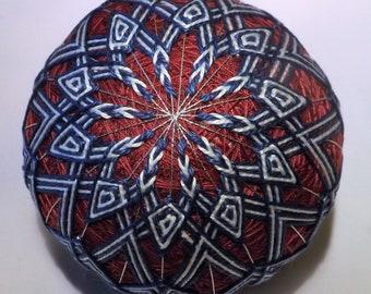 Japanese Temari Ball in Blue and White on Burgandy wrap, hand made