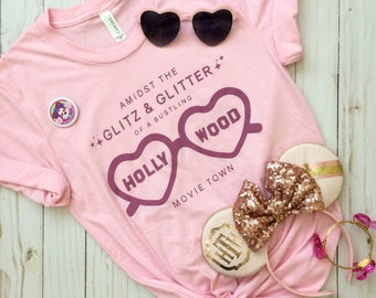 Hollywood Tower Hotel Tower of Terror Glitz & Glitter Sunglasses Hollywood Studios Pink Crew Neck Tee Shirt
