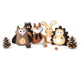 Woodland Animal Sewing Patterns, Mini Woodland Felties, Felt Hedgehog, Owl, Fox, Rabbit & Bear Woodland Stuffed Animals