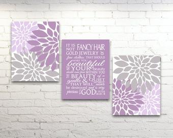 Girls Nursery Decor Scripture  Beauty 1 Peter 3 3-4 Lavender Pink Gray Purple Wall Art Set Canvas Prints Baby Shower Gift CUSTOM COLORS
