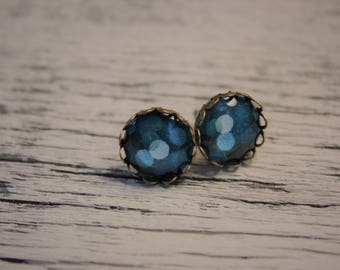 Blue polka dots scalloped earrings