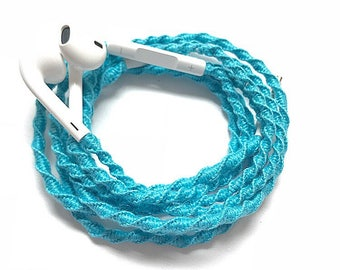 Iphone Earphones/EarPods with Mic in Aqua color.No tangle handmade macrame wrapped.