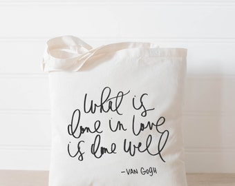 What is Done In Love, present, housewarming gift, tote bag, tote, Bible verse, inspirational, womens gift, christian gift, overnight bag
