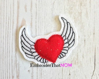 Flying Heart with wings Feltie Embroidery Design File