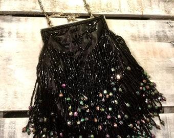 Vintage Black Fringe Beaded Silver Tone Removable Chain Evening Bag Purse