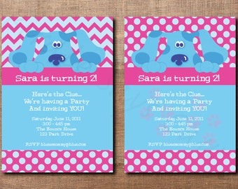 Custom Printable Blues Clues Birthday Invitation