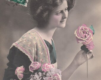 Romantic vintage French Woman  Postcard . Romantic Woman with flowers.