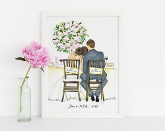 The Bride and Groom (customization available) (Fashion Illustration Print) - Wedding - Bridal Print - Bridal Illustration - Bridesmaids