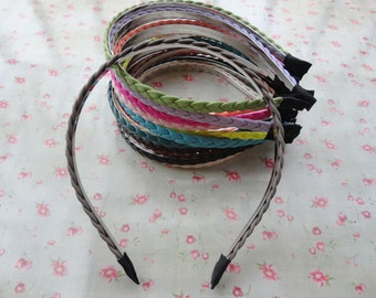 Mixed color--15pcs-8mm metal headbands covered by woven leather  with bent end--H3064-15