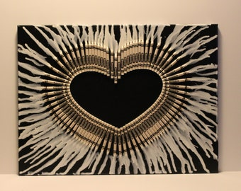 Melted Crayon Heart - Melted Crayola Crayons - Black and White - Black Canvas - Melted Heart - Anniversary Gift - Wedding Gift 18x24
