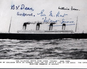 TITANIC POSTCARD:  Signed by Three Survivors