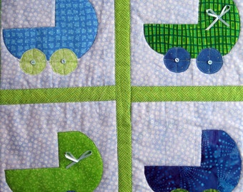 Green and Blue Baby Buggies Quilted Wall Hanging by Made Marion