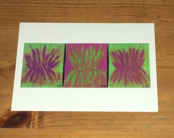 Greeting cards, blank cards, art by carole, art by carole store, gifts, stationary, green, purple, cards, 5x7, abstract, wall art, decor
