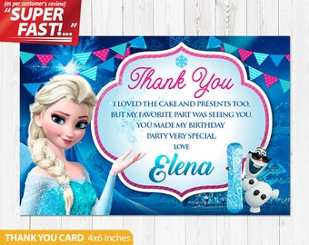 Frozen Thank You Card PRINTABLE, Frozen Birthday Thank You Card, Frozen Birthday Party, Frozen Party Thank You Card, v1