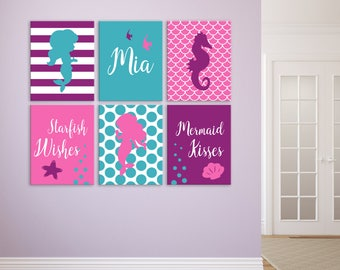 Mermaid Wall Art, Mermaid Kisses Starfish Wishes Prints, Mermaid Room Decor