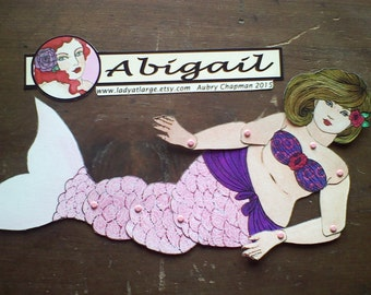 Abigail blonde fat mermaid articulated paperdoll cut assemble