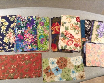 Pre-cut Quilting Rectangles, Cotton fabric 6.5 X 3.5 bricks - QTY 45 Floral Variety Mix