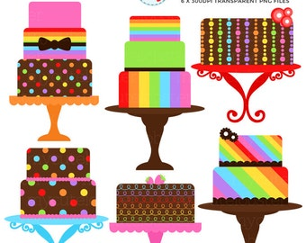 Rainbow Cakes Clipart Set - clip art set of cakes, rainbow, stripe, polka, party - personal use, small commercial use, instant download