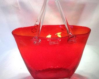Art Glass Purse Red Glass Purse Vase Design Society