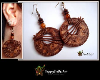 Round Earrings Brown Handmade Earrings Polymer Clay Jewelry One Of A Kind Gift For Her Unique Earrings For Women Holiday Gift For Her
