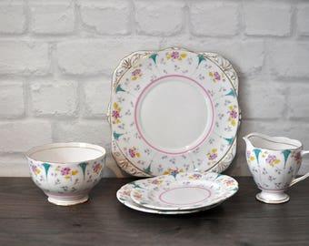 "1940s Vintage Royal Grafton ""Zealand""  Bone China Creamer, Sugar Bowl Cake Plate and Two Side Plates"