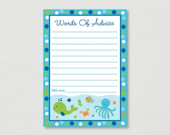 Blue Under the Sea Mommy Advice Cards / Under The Sea Baby Shower / Nautical Baby Shower / Baby Shower Advice INSTANT DOWNLOAD A229