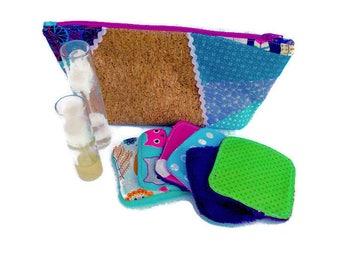 trousse de toilette en liège et coton ou trousse à maquillage ou grande trousse à crayons