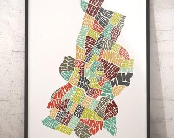 Austin map art, Austin art print, Austin typography map, map of Austin, Austin neighborhood map, downtown Austin, choose color & size