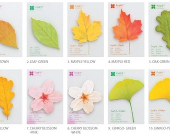 Sticky Note [ LEAVES of 10 TYPES ] / Personalized Notepad / Notepads / Memo pad / sticky note / Stationery / Scrapbooking / Bookmark