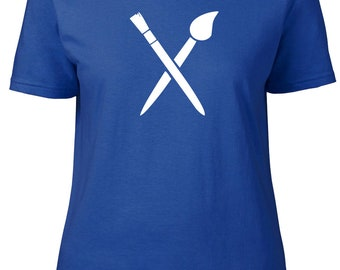 Paintbrush. Hobbies. Ladies semi-fitted t-shirt.