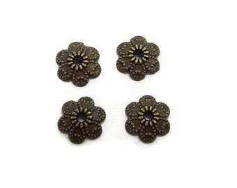 50 bead caps 10 mm - antique bronze flower 10 mm - Cup Tibetan - A218 cups