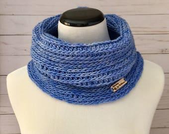 Luxury Faux Knit Cowl in Sky, crochet cowl, crochet scarf, crochet infinity scarf, cowl, scarf, infinity scarf