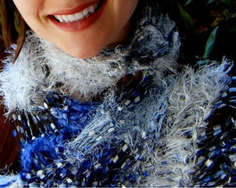 Blue and White Scarf - See Through Lightweight, Hand Knit Skinny Scarf. Soft and Light