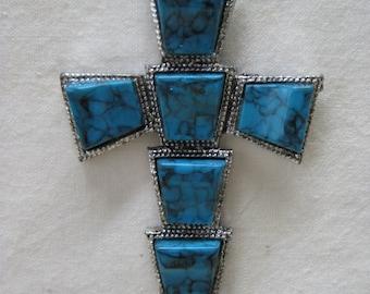 Cross Turquoise Silver Necklace Pendant Christian Southwest