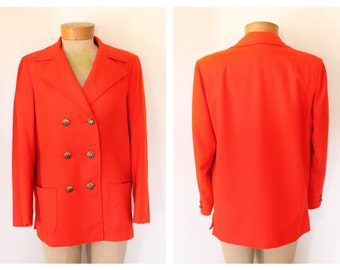Vintage Red Wool Pea Coat Jacket with Gold Buttons Size Medium/Large