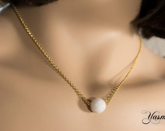 White jade on Sterling gold plated