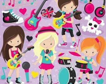 80% OFF SALE Rock star girls clipart commercial use, vector graphics, monster digital clip art, digital images - CL808