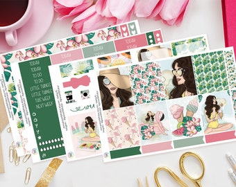 Aloha | Planner Sticker Kit for Erin Condren | Weekly Kit, Vertical Planner, Summer, Famingo's, Ice Cream, Girly, Pink, Fruit, Floral