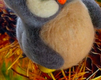 Boogie The Owl, Needle Felted Owl, Soft Sculpture, Needle Felted Bird, Art Doll, Collectible Doll, Jazzy Owl, Desk Toy, Fun Décor