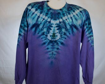 Adult XL, Psychedelic Purple and Blue Long Sleeve Tie Dye, 100% Cotton, Free Shipping