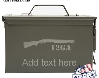 12GA Shotgun  Custom Engraved 30 / 50 Cal Ammo Can Personalized Dad Gift, Cool Guy Gifts Father's Day Gift, Grandpa Gift,Groomsmen