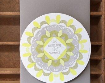 letterpress here for you always circle card