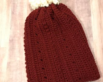 Burgundy Simple & Slouchy Hat with Large Ivory Pom Pom, Rolled Brim Beanie