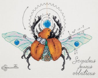 NEW UNOPENED Russian Counted Cross Stitch Kit Panna M-1915 Mechanical beetle Steampunk Biomechanical Life